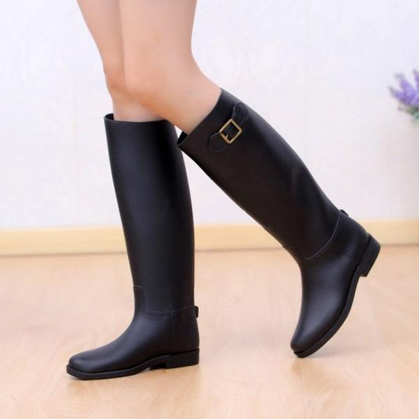 Wholesale Women Rubber Wellies Rain Boots Buckle Waterproof Flat ...