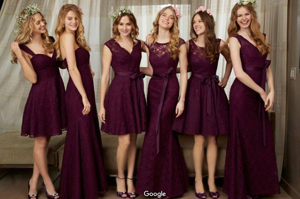 2016 New Purple Bridesmaid Dresses Different Design Of Neck Mermaid Bridesmaid Dresses Long Maid