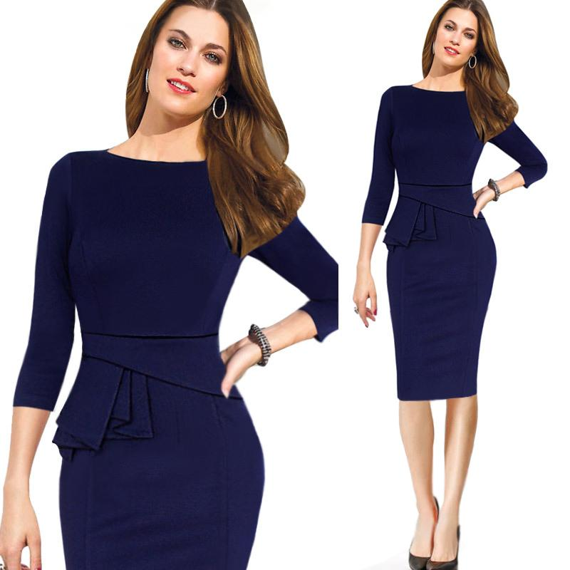 Fashion 3/4 Long Sleeves Autumn Women Work Dresses Royal Blue ...