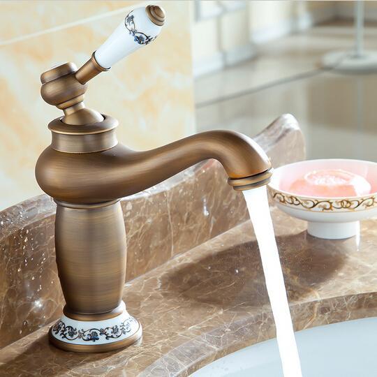 TOP Sales Antique Solid Brass Faucets Bathroom Sink Basin Faucet Porcelain  Mixer Tap Single Handle Faucet A F001 Antique Brass Faucets Bathroom Basin  Faucet ...