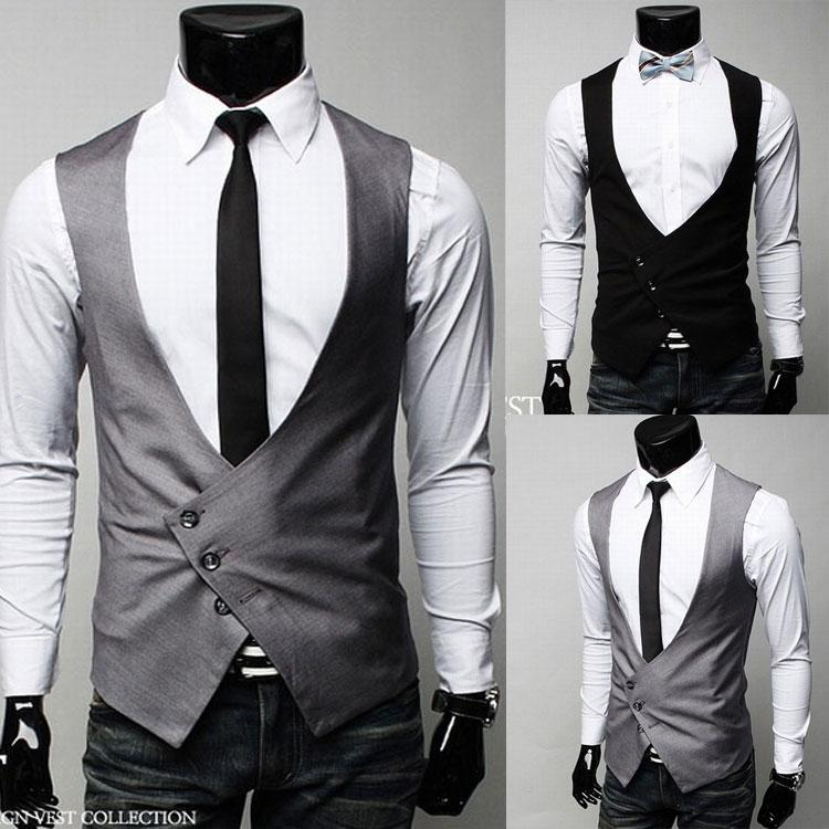 New Fashion Men Vest Casual Suit Vest Waistcoat Tank Tops ...