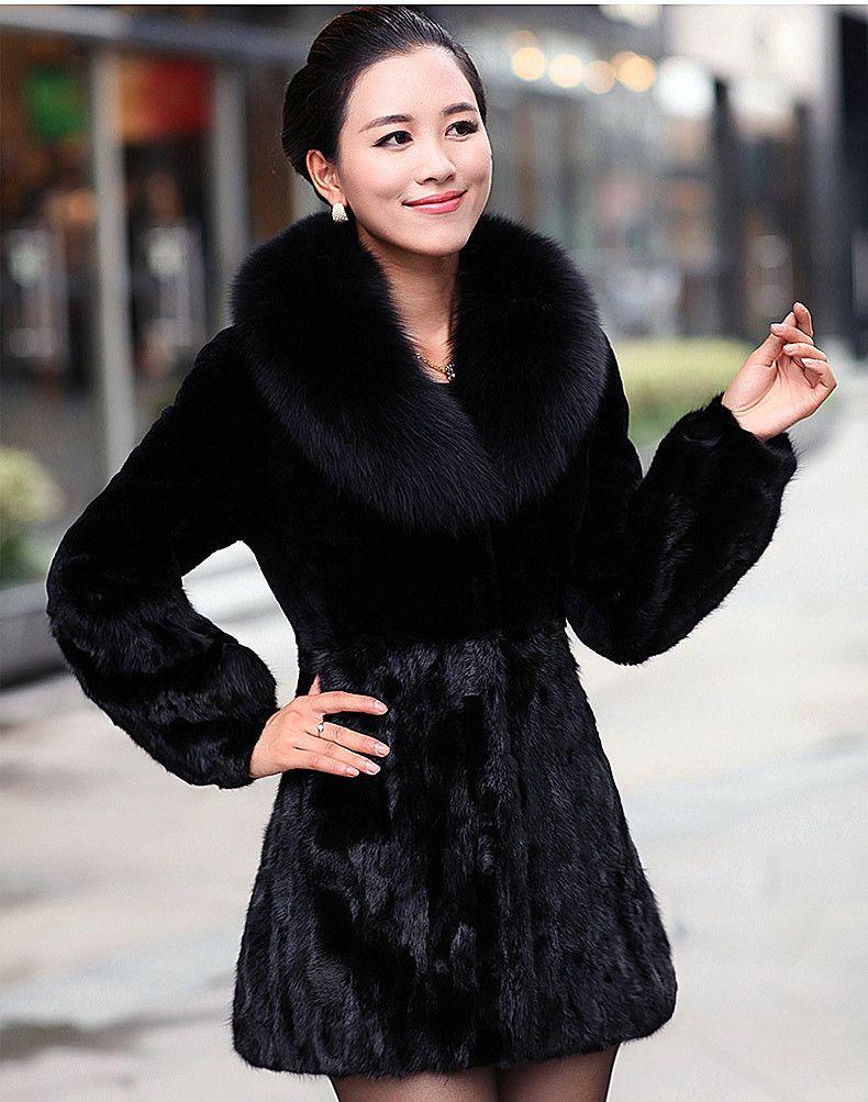 2017 Women&39S Rabbit Fur Coat Fox Fur Collar Medium Long Hooded Fur