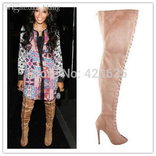 Wholesale-Piarry Peep Toe Suede Lace-up Thigh High Boots Tan ...