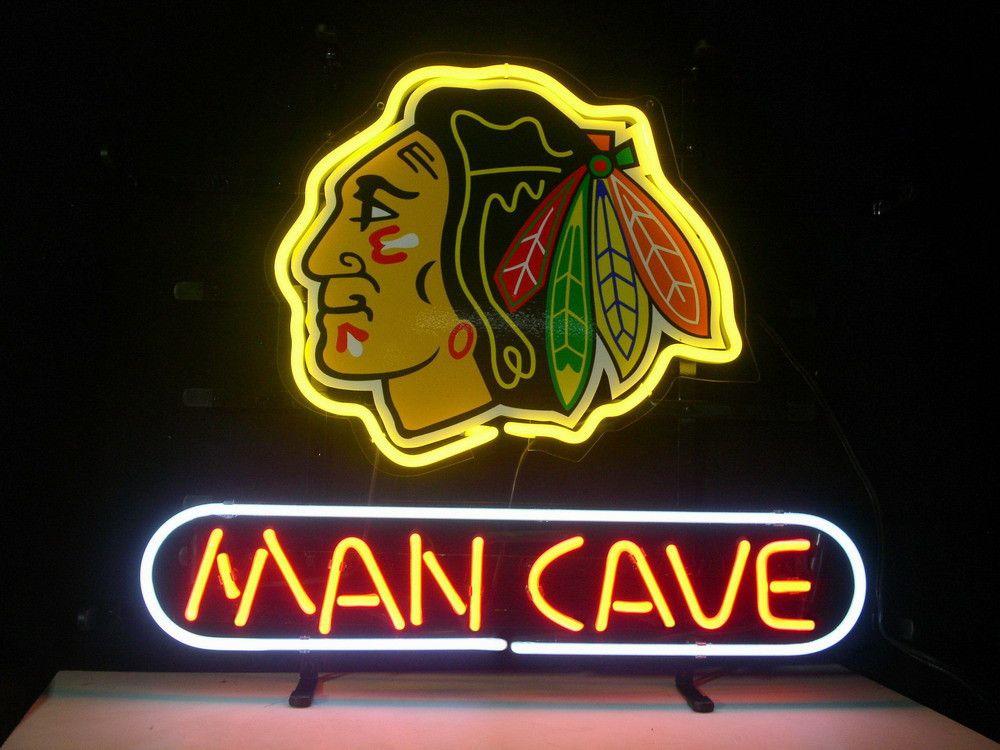neon cave hockey nhl bar signs sign blackhawks chicago beer glass blackhawk light custom display room tube game board club