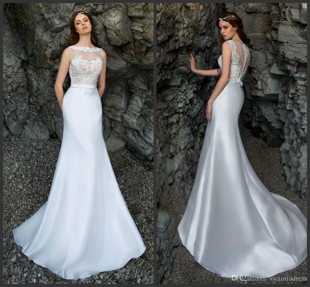 Glamorous Satin Mermaid Wedding Dresses Sweep Train