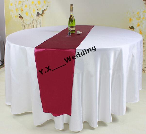 108 Round Diameter White Satin Table Cloth With Burgundy Color Satin Table  Runner Table Cloth Satin Table Cloth Wedding Table Cloth Online With ...