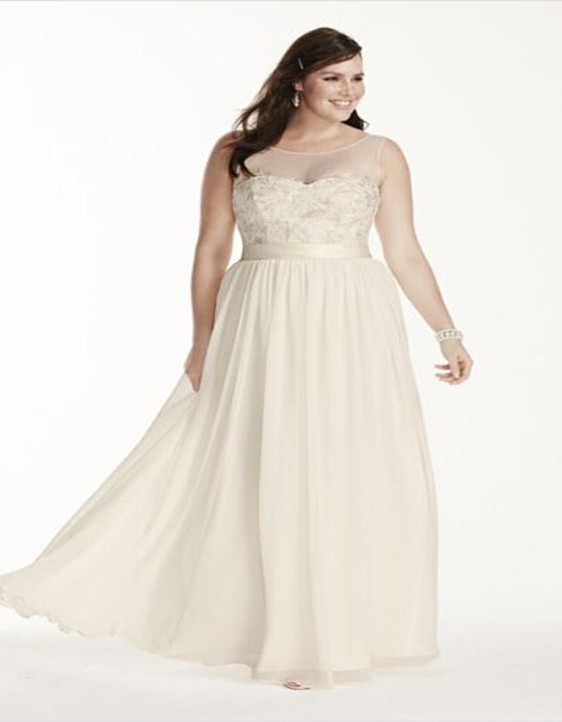 Custom made 2016new illusion tank chiffon sheath with for Plus size illusion wedding dress