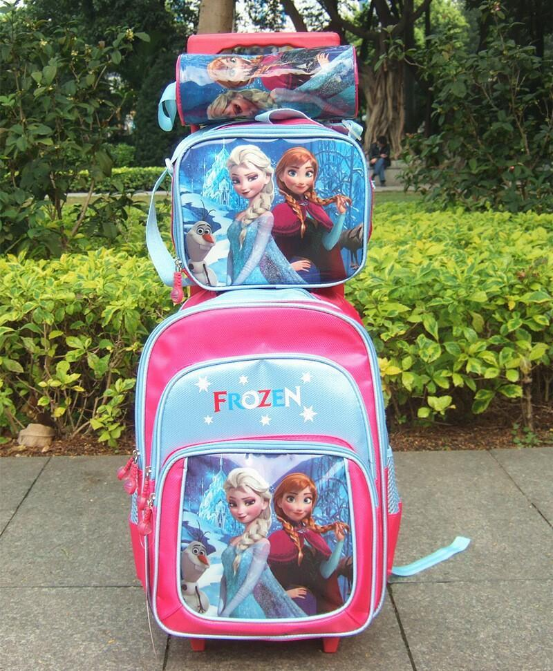 Fashion New Frozen Child Pull Rod Bags Lunch Box And
