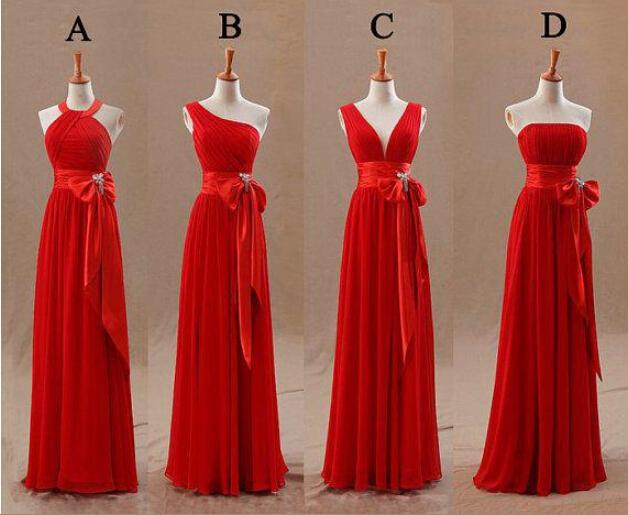 2015 red bridesmaids dresses elegant bow knot chiffon long for Silver and red wedding dresses