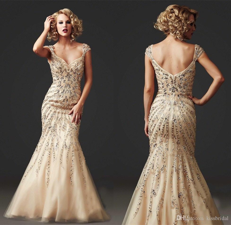 2016 Hot Sale New Luxury Champagne Mermaid Prom Dresses V-neck ...