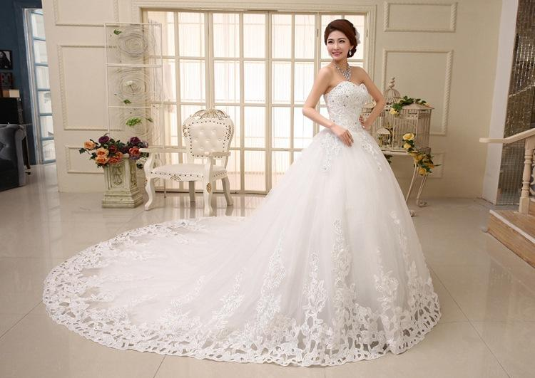 Long Tail Wedding Dress Sweet Princess Diamond Royal Train Bride ...
