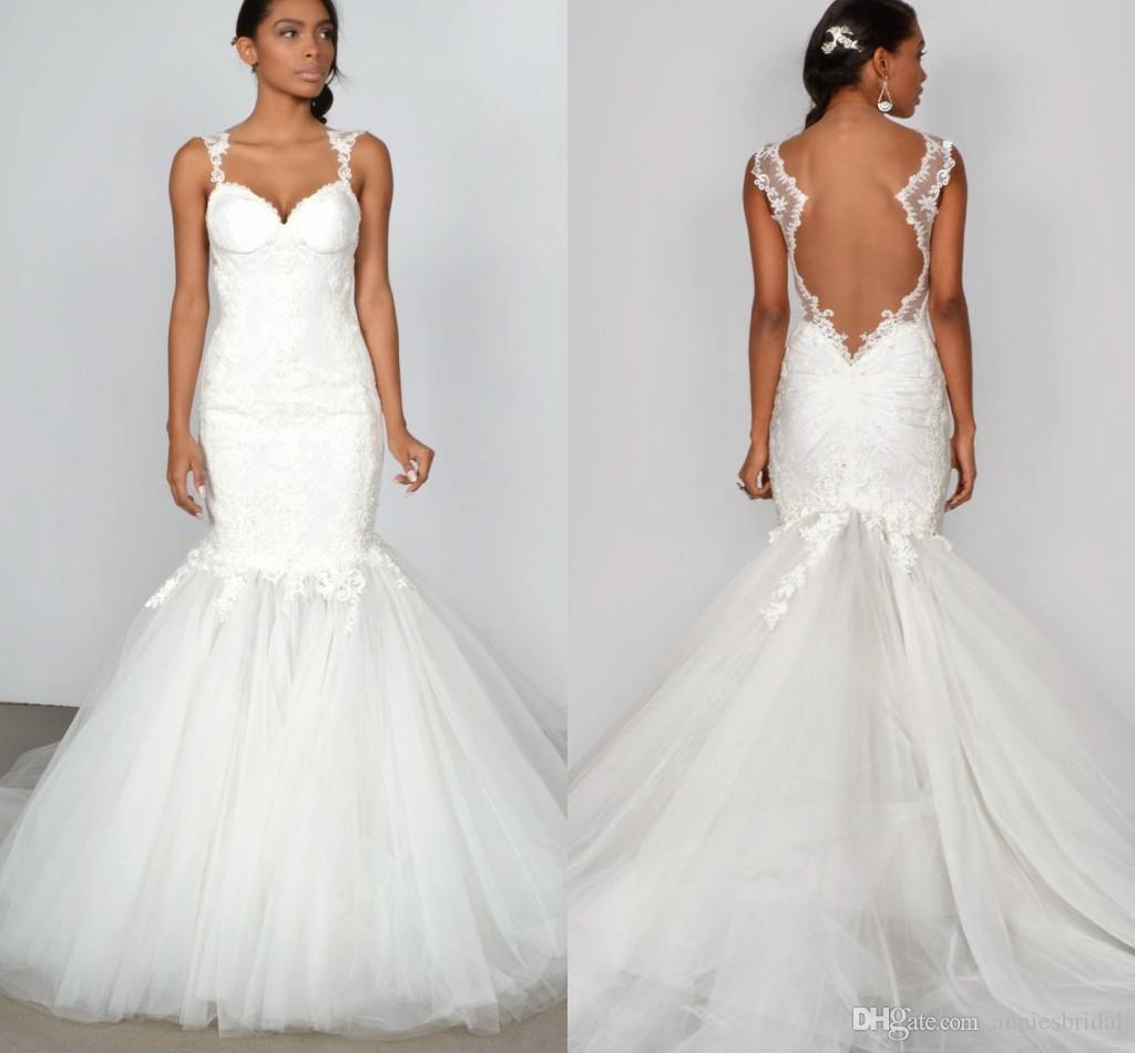 2015 White Lace Tulle Mermaid Wedding Dresses V-neck Sheer Capped ...
