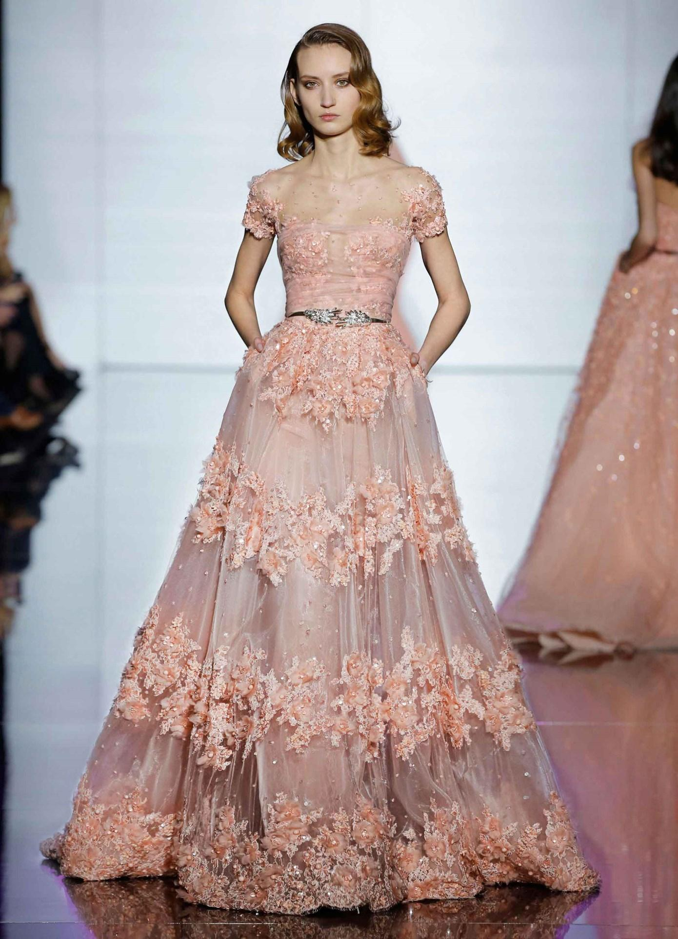 2016 Peach Lace Flowers Zuhair Murad Evening Dresses Formal Gown ...