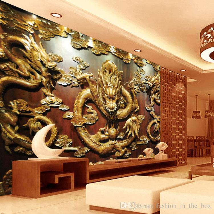 Custom 3d wallpaper wood carving dragon photo wallpaper for 3d interior wall murals
