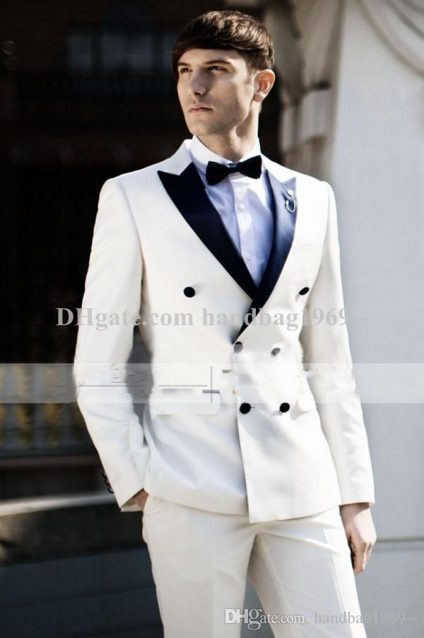 Double Breasted Ivory Groom Tuxedos Peak Lapel Groomsmen Mens ...