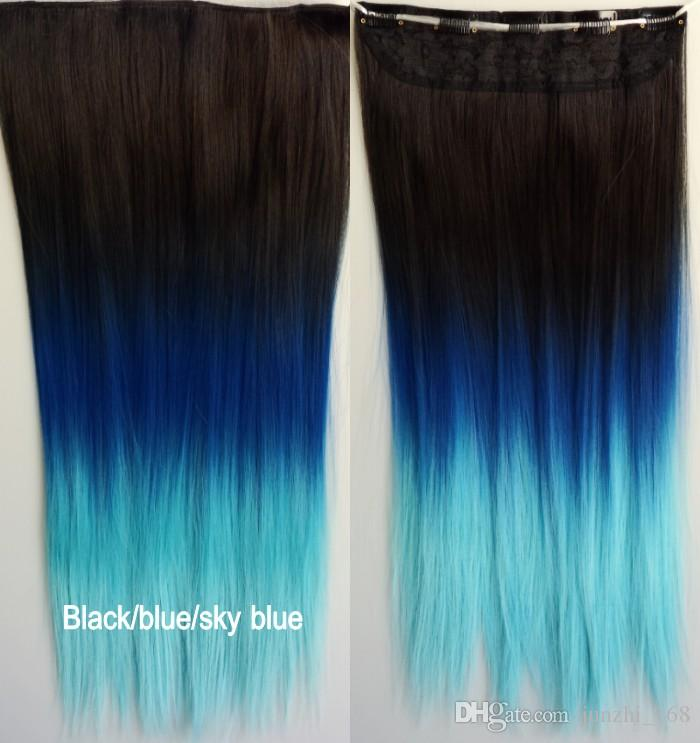 For choose ombre color clip in hair extensions for women straight for choose ombre color clip in hair extensions for women straight hairpiece synthetic hair 5 clips in hair extension feather hair extension braiding hair pmusecretfo Image collections