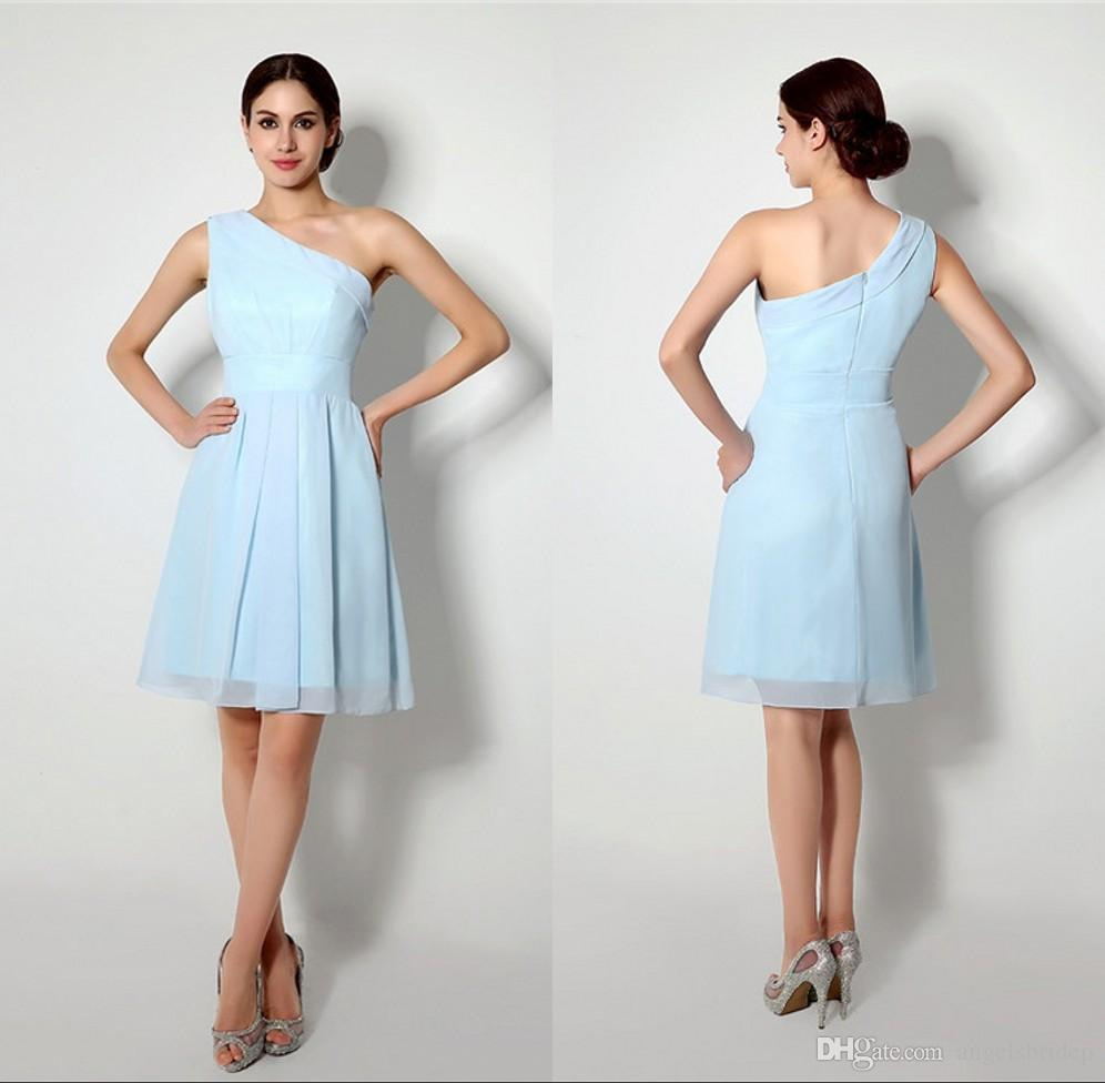 Light Blue Short Bridesmaid Dresses One Shoulder Knee Length ...