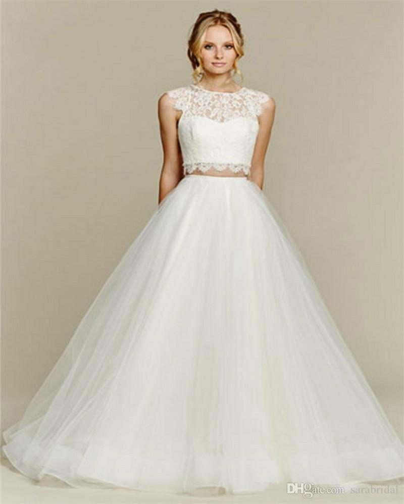 2016 two pieces wedding dresses a line jewel lace top for Dhgate wedding dresses 2016