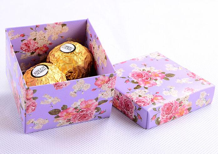 Purple Color Floral Print Candy Boxes Wedding Party Favor Holders ...