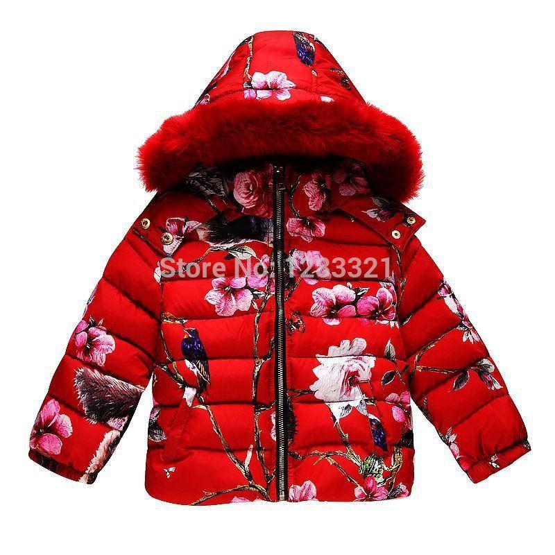 Girls Down Parkas Children Winter Outwear with Animal Print Fur ...