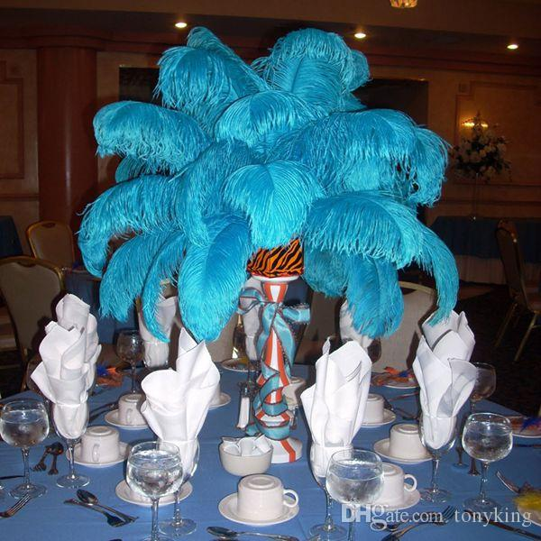 Turquoise Ostrich Feathers Large Diy Party Supplies Wedding Decoration Dyed Plume Table