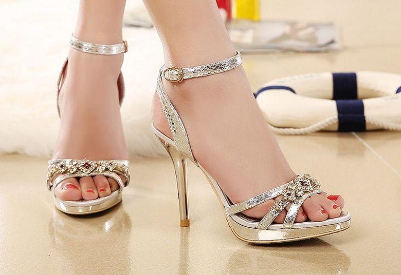 Silver Ankle Strap High Heels | Tsaa Heel