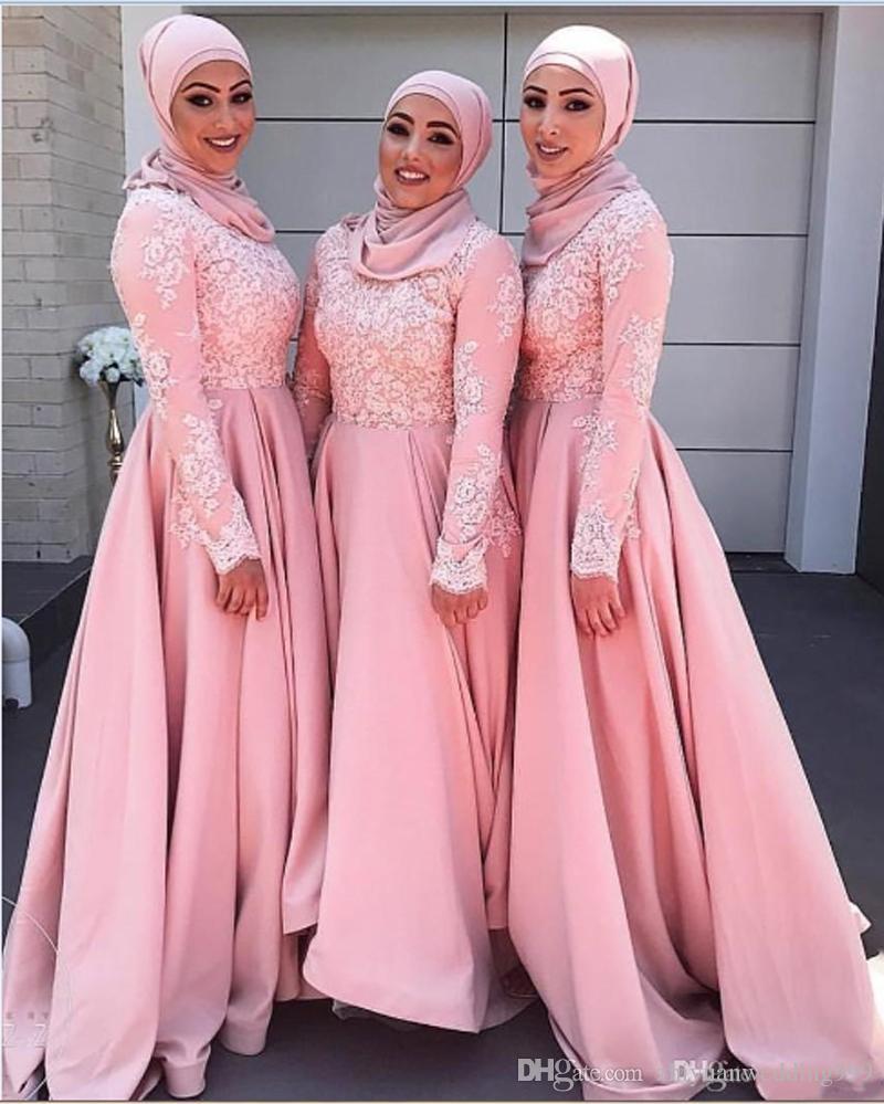 Long sleeves pink muslim hijab bridesmaid dresses satin with lace long sleeves pink muslim hijab bridesmaid dresses satin with lace appliques off the shoulders mermaid wedding guest dresses muslim bridesmaid dresses dubai ombrellifo Image collections