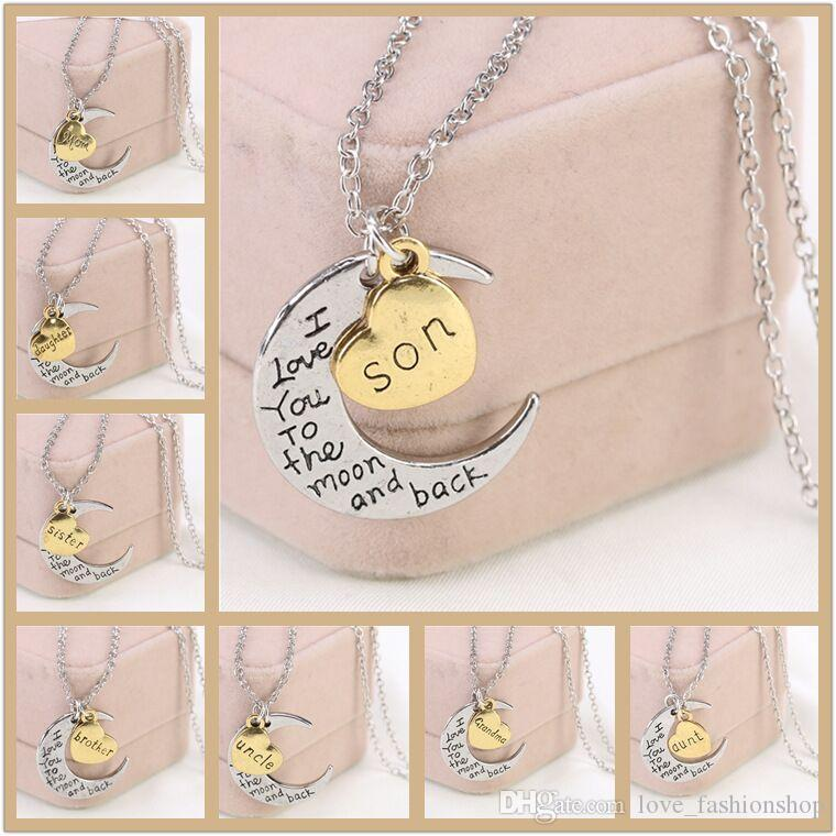 wholesale vintage moon necklace mom gift charm family i