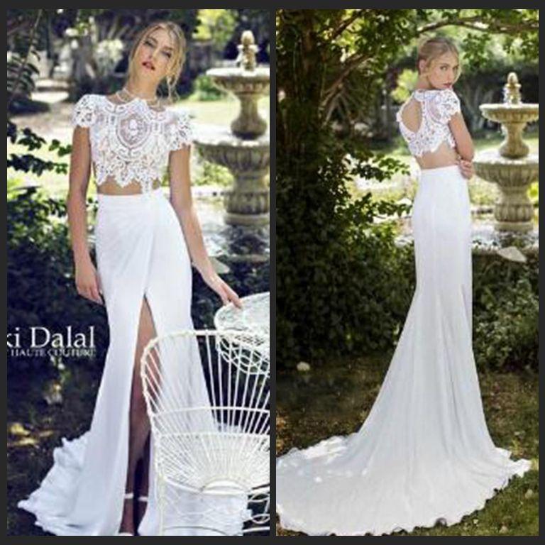 Discount 2017 Summer Chiffon Beach Wedding Dresses Mermaid High Neck Lace Bodice Two Piece White