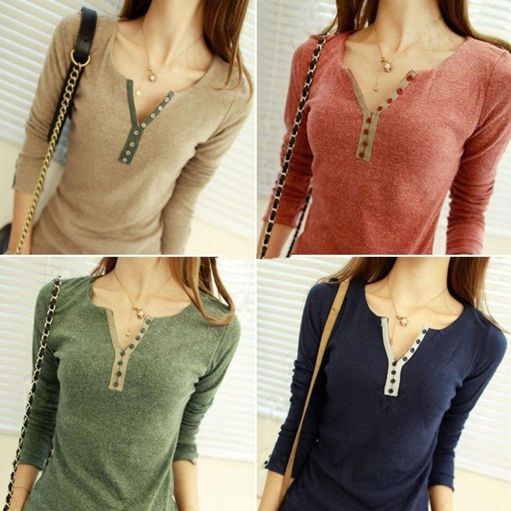 Shirt new design 2015 - 2015 Fashion Design New Women Ladies Button V Neck Solid Long Sleeve Tee T Shirt Basic Tops Cool Funny T Shirts On T Shirt From Shenyan01 15 45 Dhgate