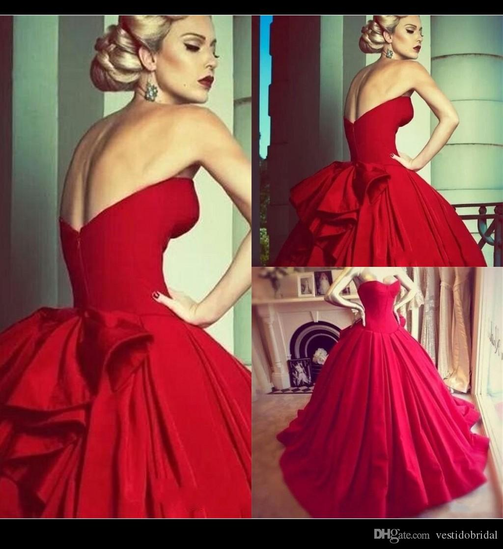 Modern Red Ball Gown Wedding Gowns 2015 Strapless Satin Pleated ...