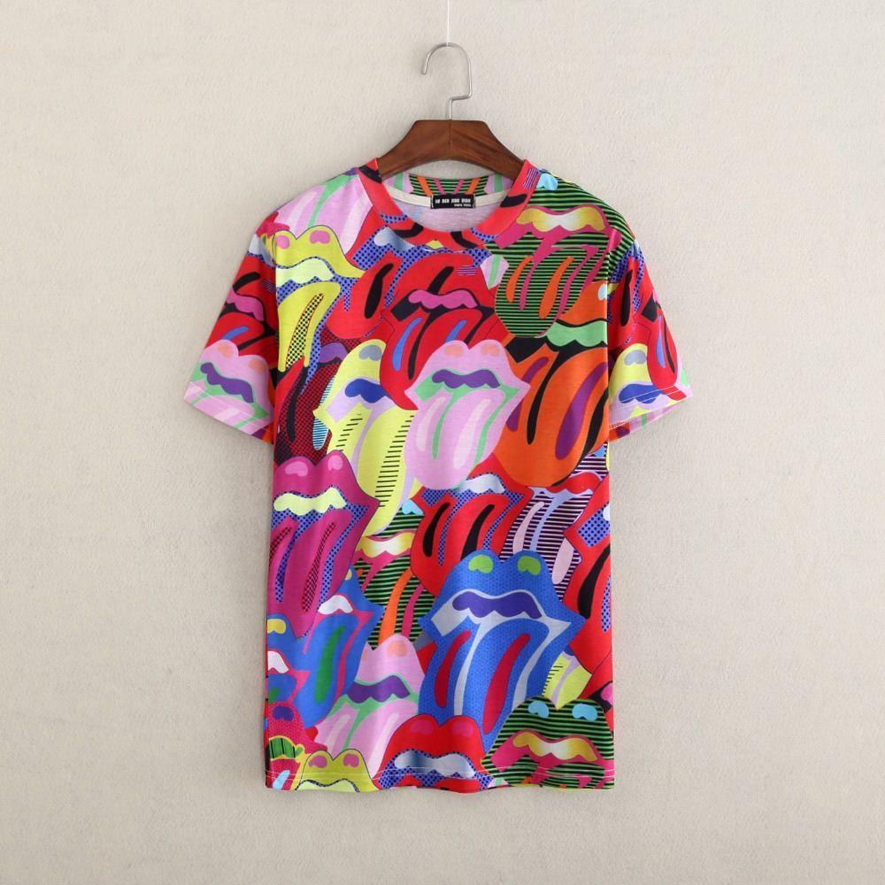 T shirt design uk cheap - New Design Artistic Graffiti Double Side Paint T Shirt Women Men Graffiti T Shirt Summer Casual Tshirt Tees Tongue T Shirt Tshirt Production Shirt