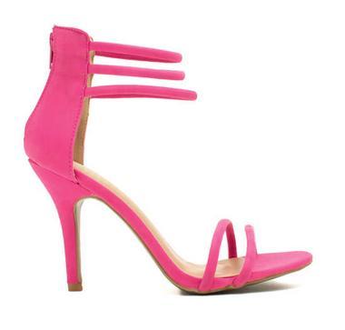 Ankle Strap Hot Pink Women Sandals High Heels Suede Stiletto Heels ...