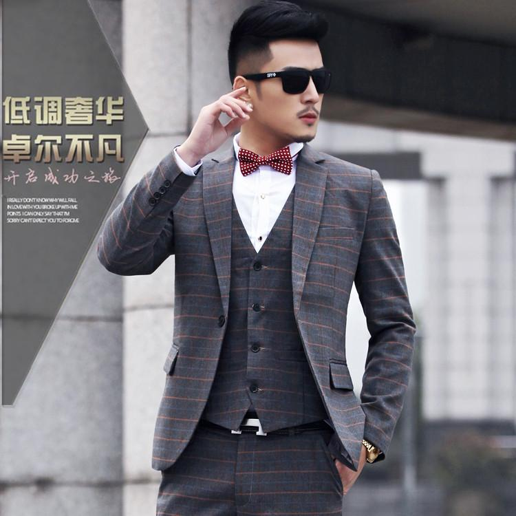 2017 2015 New Arrival Fashion Men Suit Slim Terno Masculino Plaid ...