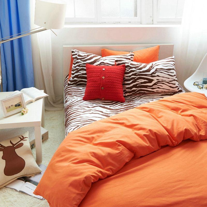 Orange blue bedding set king size queen twin solid quilt doona duvet