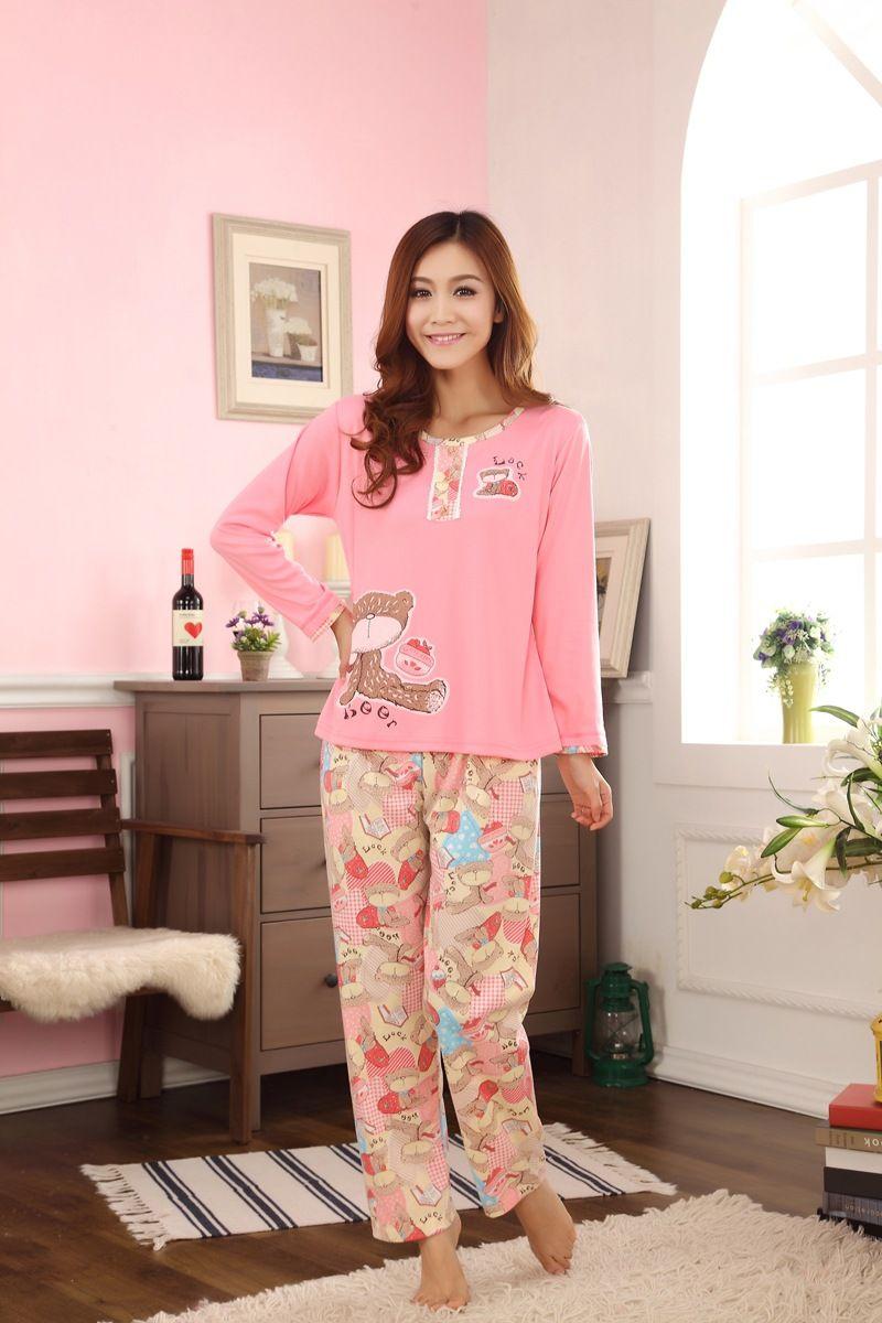2017 Autumn Winter Women Pajama Sets Cotton Nightgowns ...