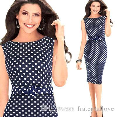 2016 New Cheap Formal Work Dresses Polka Dot Blend Cotton Pencil ...