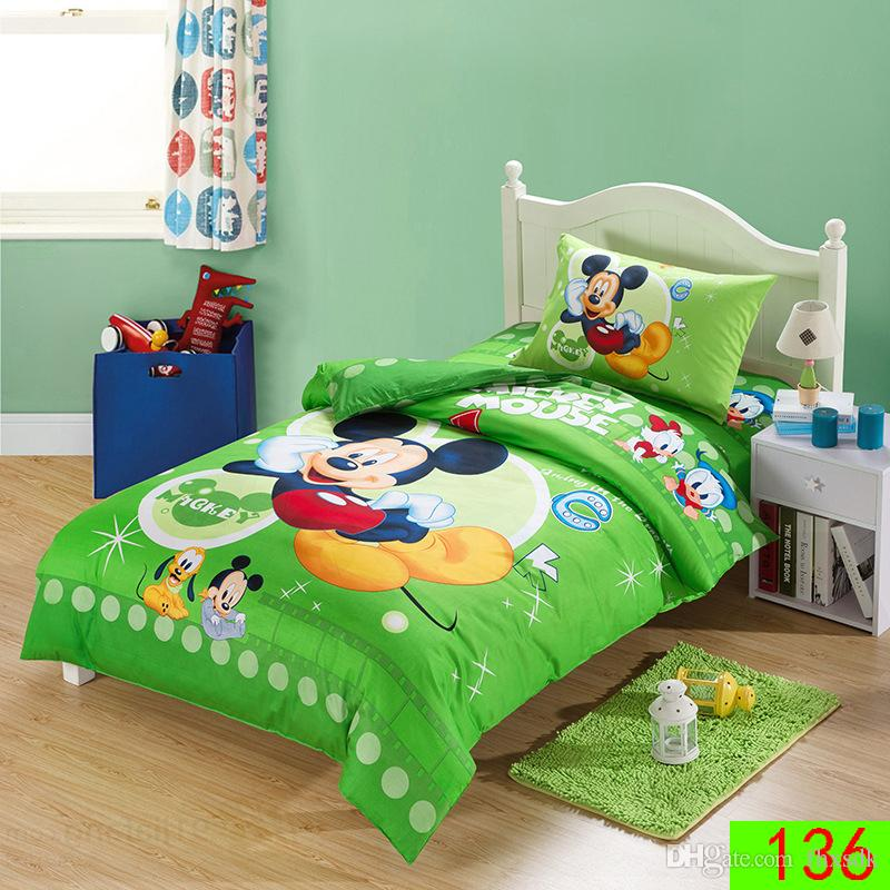 green blue pink yellow red mickey mouse minnie mouse bedding sets twin size duvet cover set 100 cotton bedline bedclothes for kids bedding set bedclothes