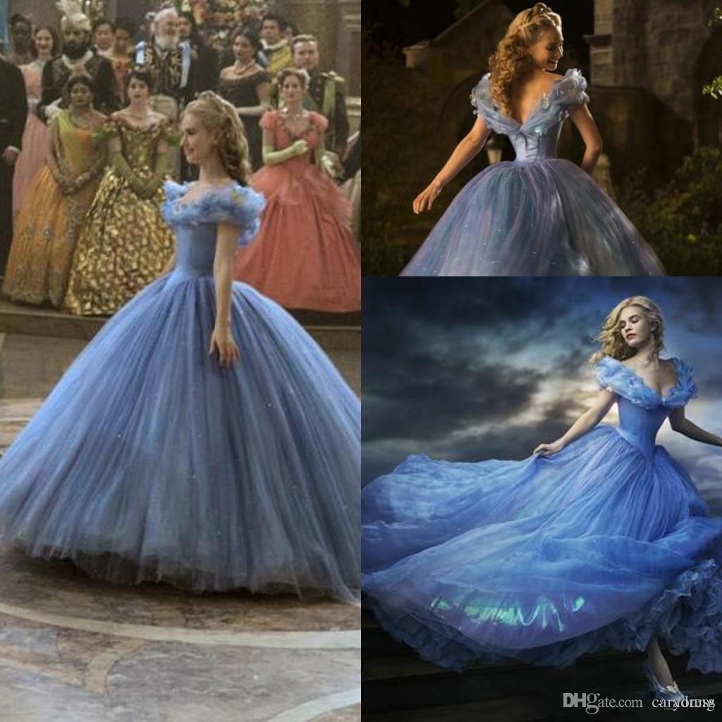 2015 Cinderella Prom Dresses Luxury Crystals Lily James