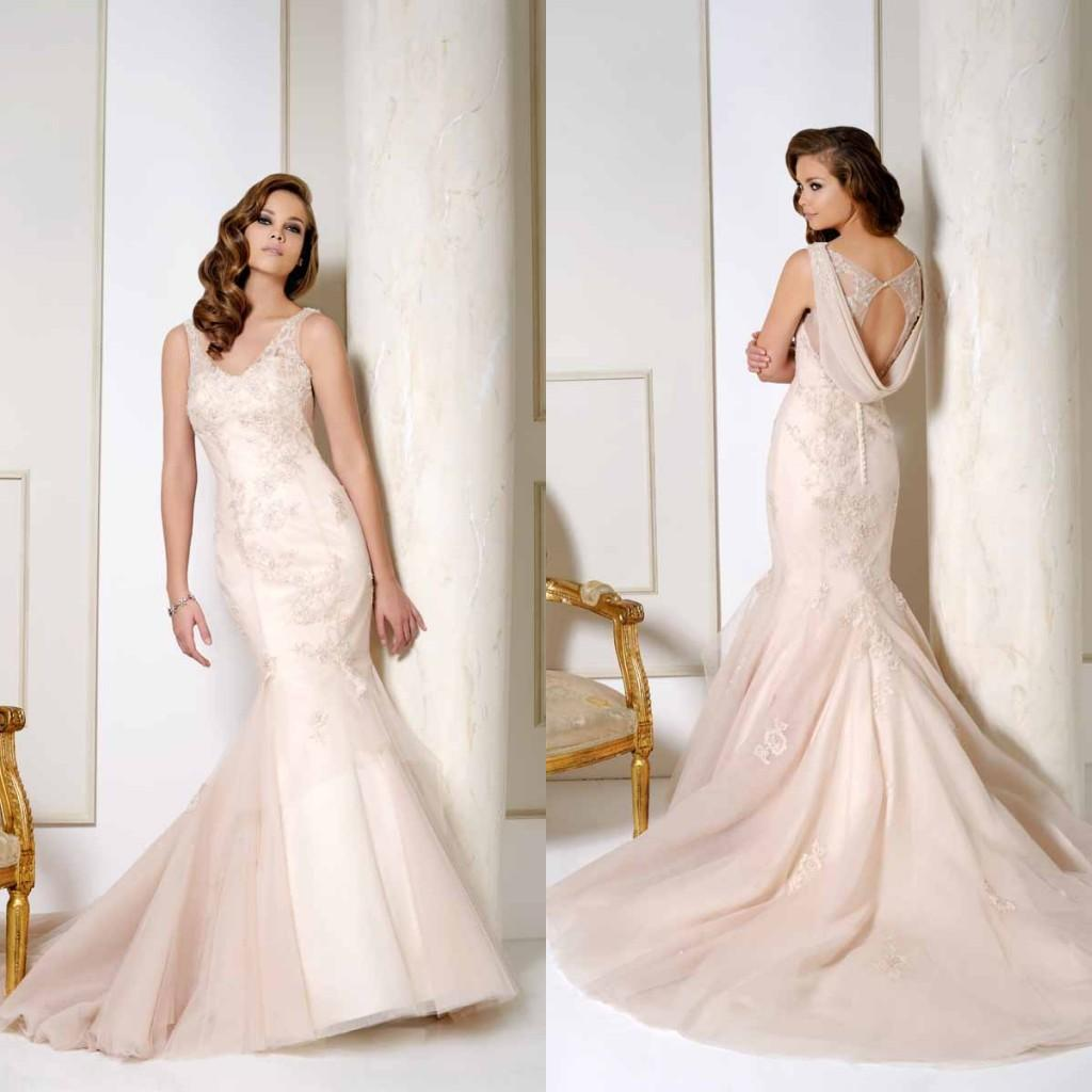 New arrival champagne mermaid wedding dresses v neck sleeveless new arrival champagne mermaid wedding dresses v neck sleeveless lace appliques open draped back fitted bridal gowns mermaid wedding dress champagne ombrellifo Gallery