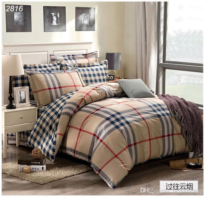 Blue grey black orange plaids bedding set 100 cotton comforter cover bed cover bed set sheet to - Blue and orange bedding sets ...
