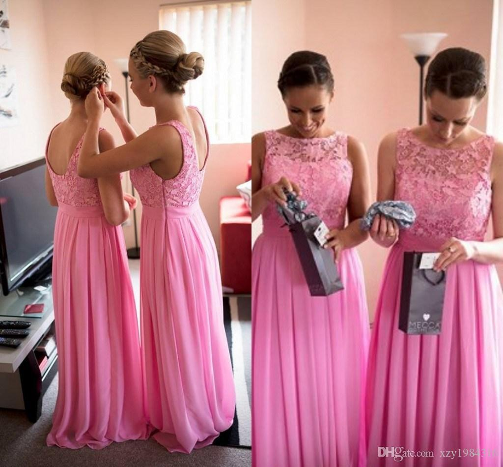 Lace top long bridesmaid dresses sleeveelss pleated ruched low cut lace top long bridesmaid dresses sleeveelss pleated ruched low cut back charming bridemaid dresses cheap custom made chiffon evening gowns long bridesmaid ombrellifo Image collections