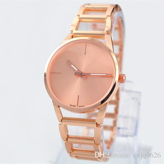 A piece/lots Top brand women watch rose gold special steel band Lady Wristwatch+free box fashion design Free shipping