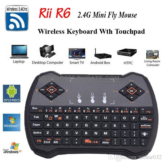 I28 1 K28 V6A Mini 24Ghz Rii R6 Wireless Game Keyboard Fly Air Mouse Remote Control With Touchpad For PC Andriod TV Box Xbox360 HTPC IPTV