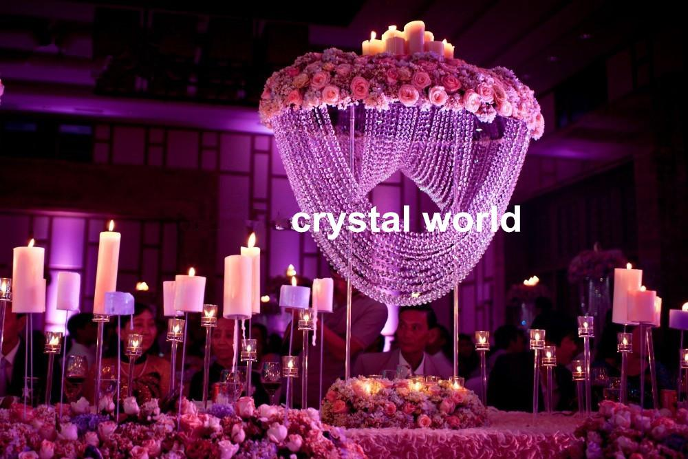 Tall round crystal flower stand centerpieces for
