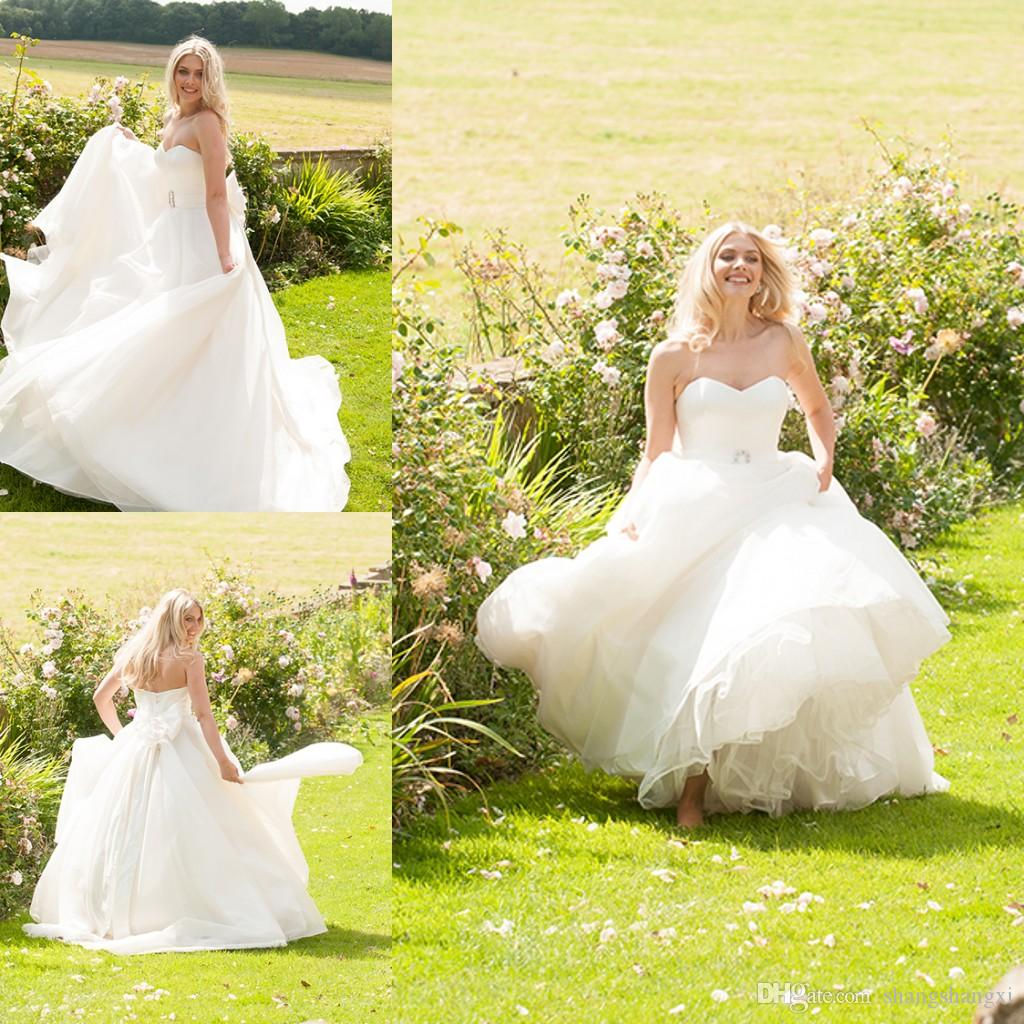 2016 Dress Wedding Style Simple A Line Sweetheart Corset Back With Bow Sash Court Train Cheap