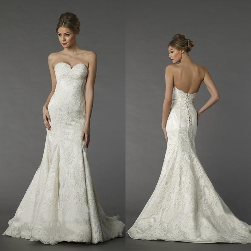 2015 Spring Pnina Tornai Simple Lace Wedding Dresses