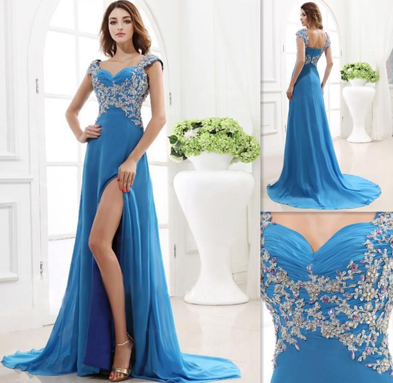 Cut Out Prom Dresses 2015 Elegant Sky Blue Cap Sleeves Chiffon A ...
