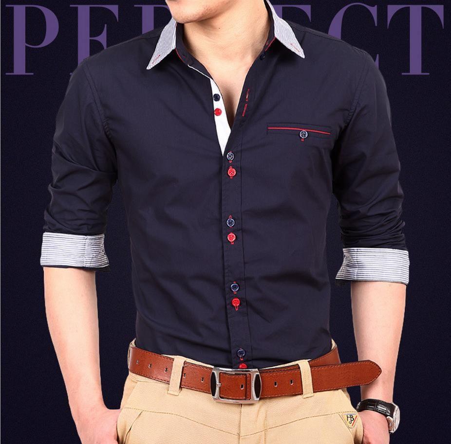 Shirt design of 2014 - Shirts 2014 New Dress Fashion Quality Long Sleeve Shirt Men Slim Design Formal Casual Male