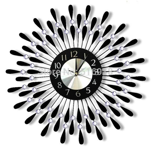 top quality modern wrought iron wall clock metal large luxury
